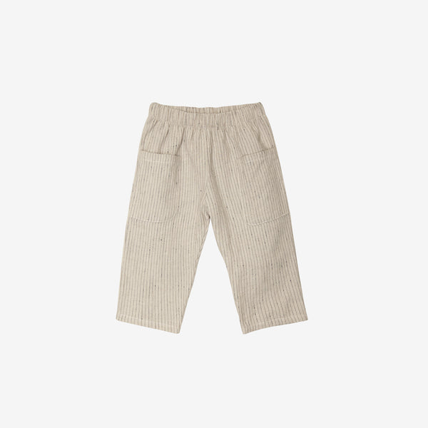 Organic Broadcloth Pocket Pant - Flax with Navy Stripe