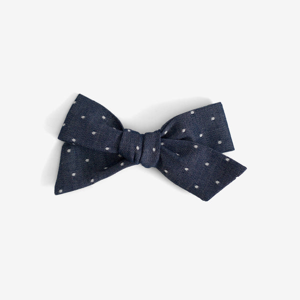 Little Mess Hair Bow - Chambray Dot