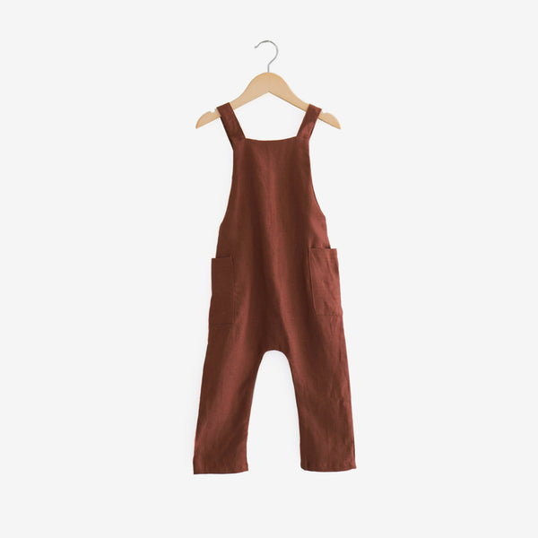 Pocket Linen Overalls - Redwood