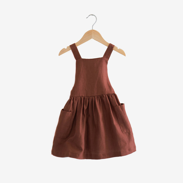 Pocket Pinafore Linen Dress - Redwood