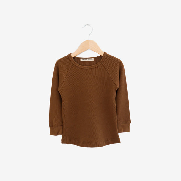 Waffle Thermal Cotton/Modal Top - Toffee