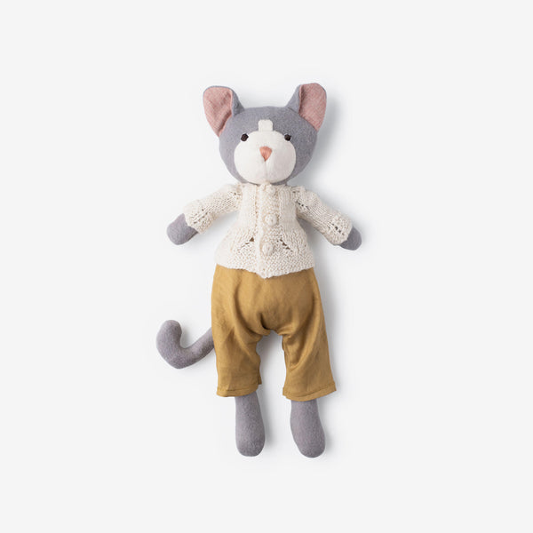 Gracie Cat in Linen Overalls & Ivory Sweater