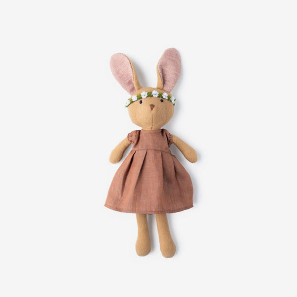 Juliette Rabbit in Clay Linen & Flower Headband