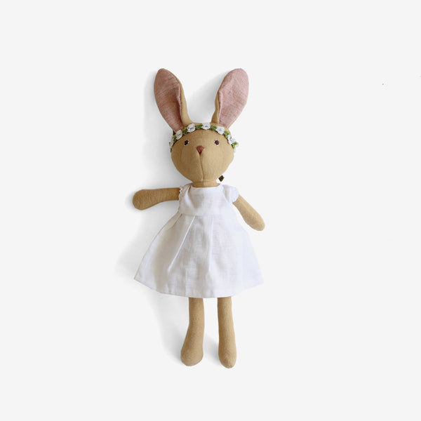 Juliette Rabbit in White Linen & Flower Headband