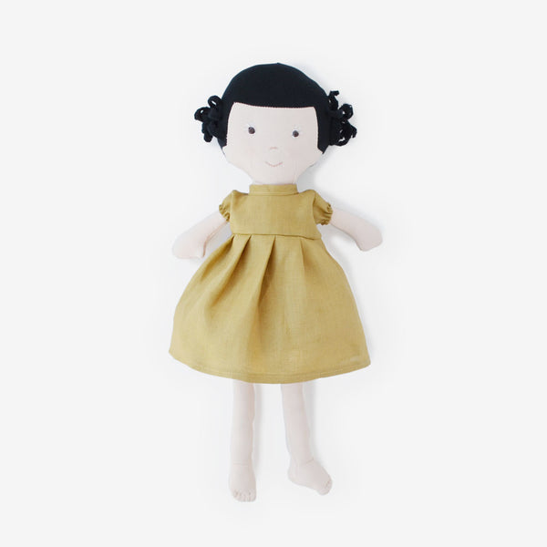 Nell Dolly in Goldenrod Linen Dress