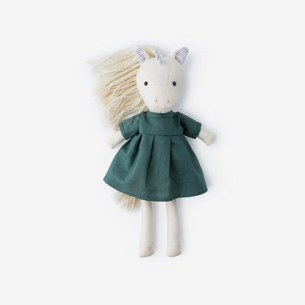 Peaseblossom Unicorn in River Green Linen