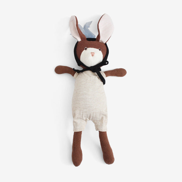 Zoe Rabbit in Oatmeal Romper & Black Cap