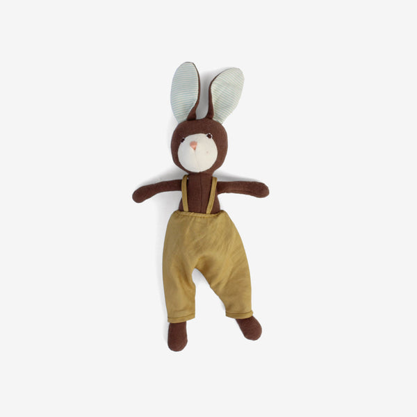 Lucas Rabbit in Goldenrod Linen Overalls