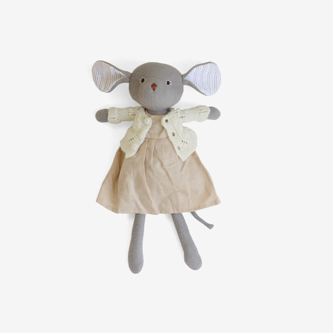 Olivia Mouse in Peachy Linen Dress & Ivory Sweater