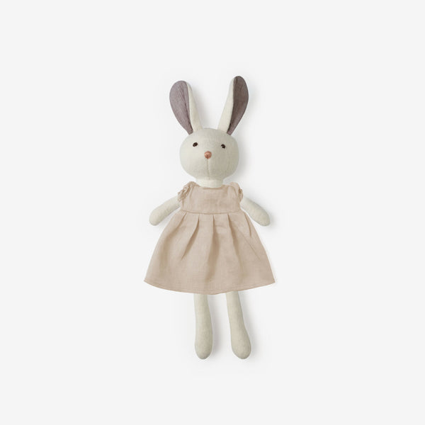 Penelope Rabbit in Peach Linen Dress