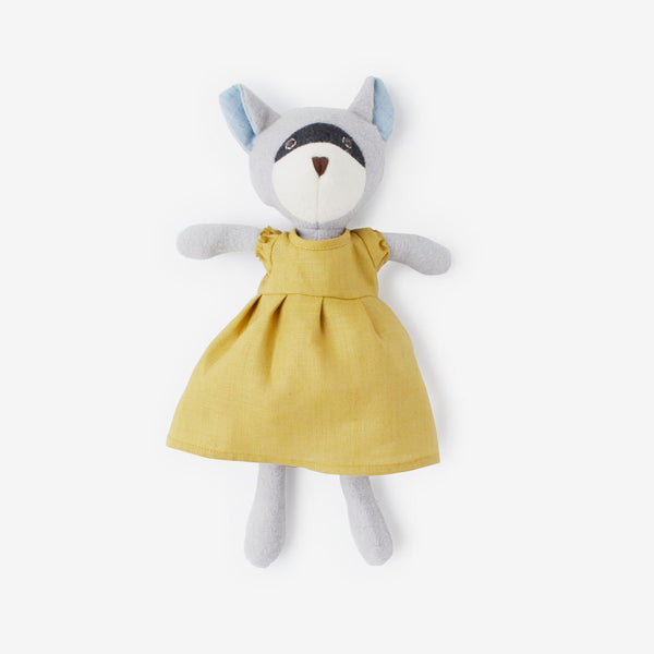 Gwendolyn Raccoon in Goldenrod Dress