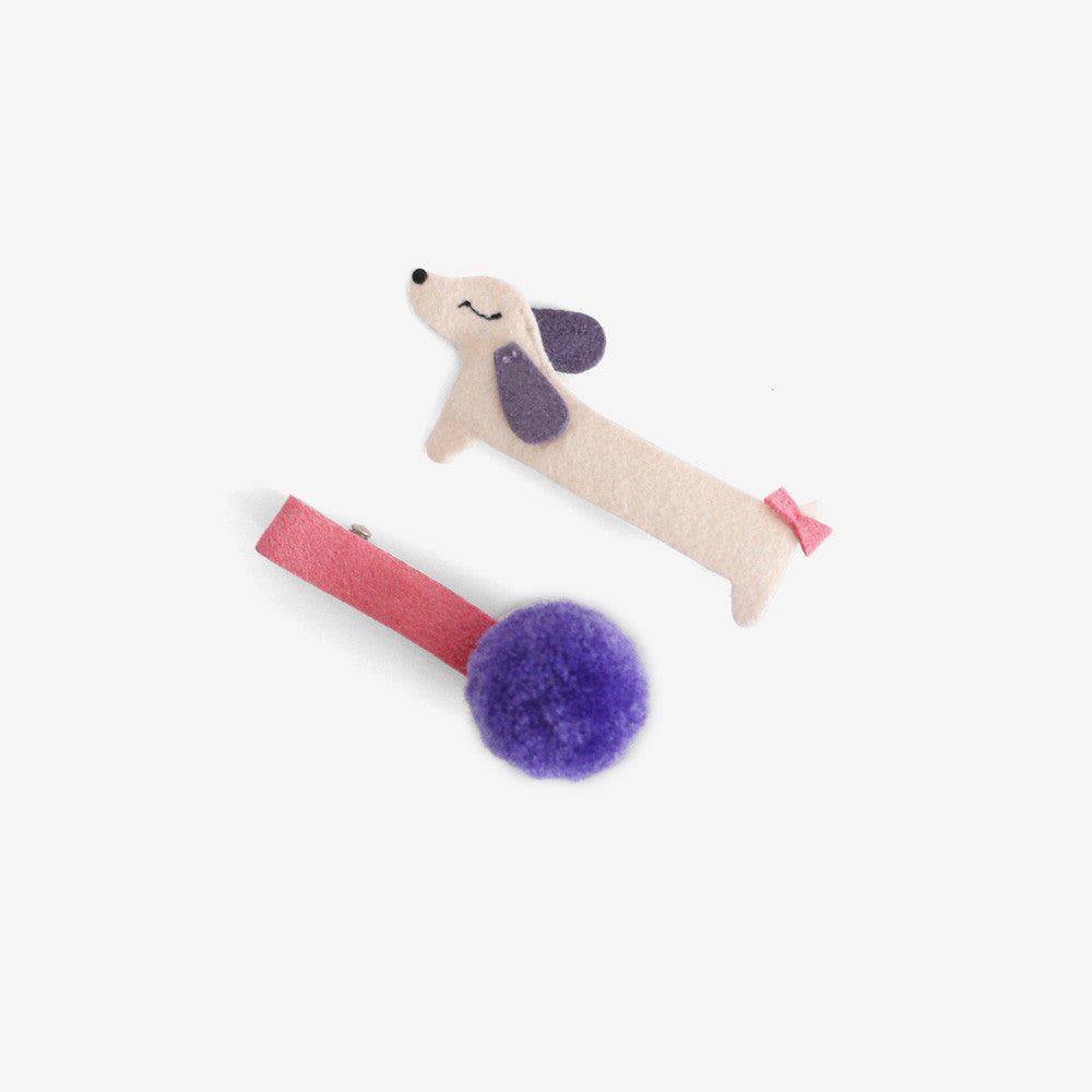 Puppy Pom Clips Set of 2