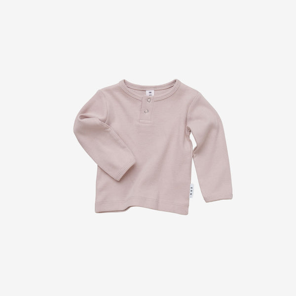 Organic Essentials Rib Henley - Blush