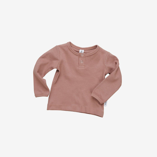 Organic Essentials Rib Henley - Ginger
