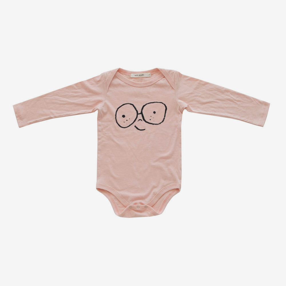 'Happy Face' Onesie - Dusty Pink
