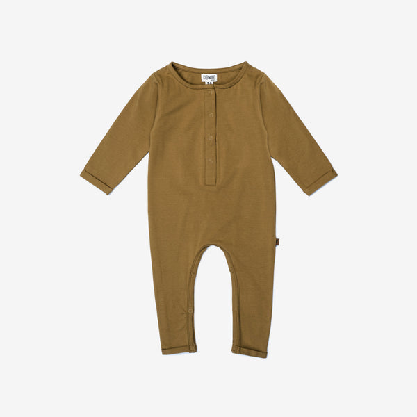 Organic Henley Playsuit - Curry