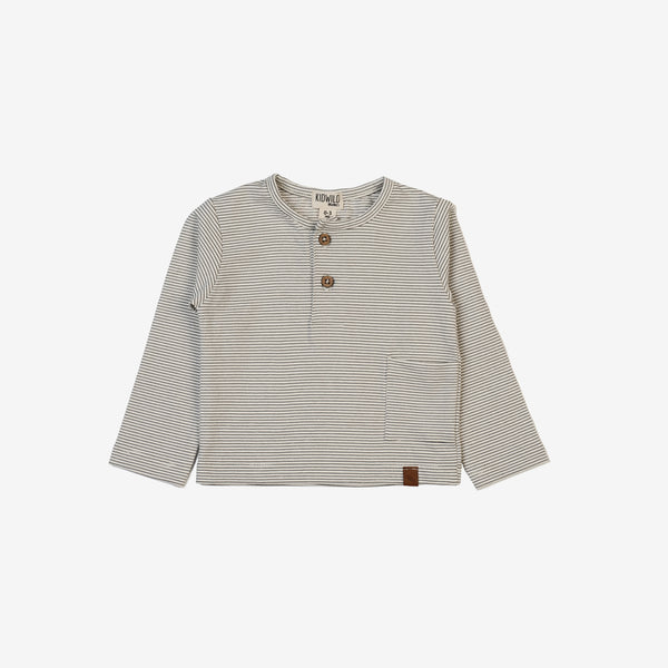 Organic L/S Pocket Tee - Pencil Stripe