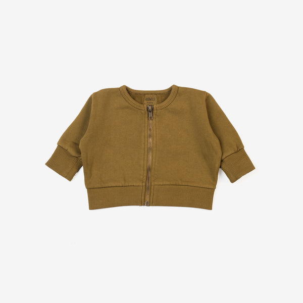 Organic Vintage Zip Sweater - Curry
