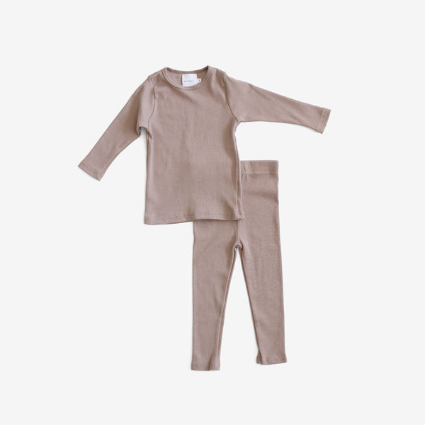 Day/Night Cotton Rib PJ Set - Truffle