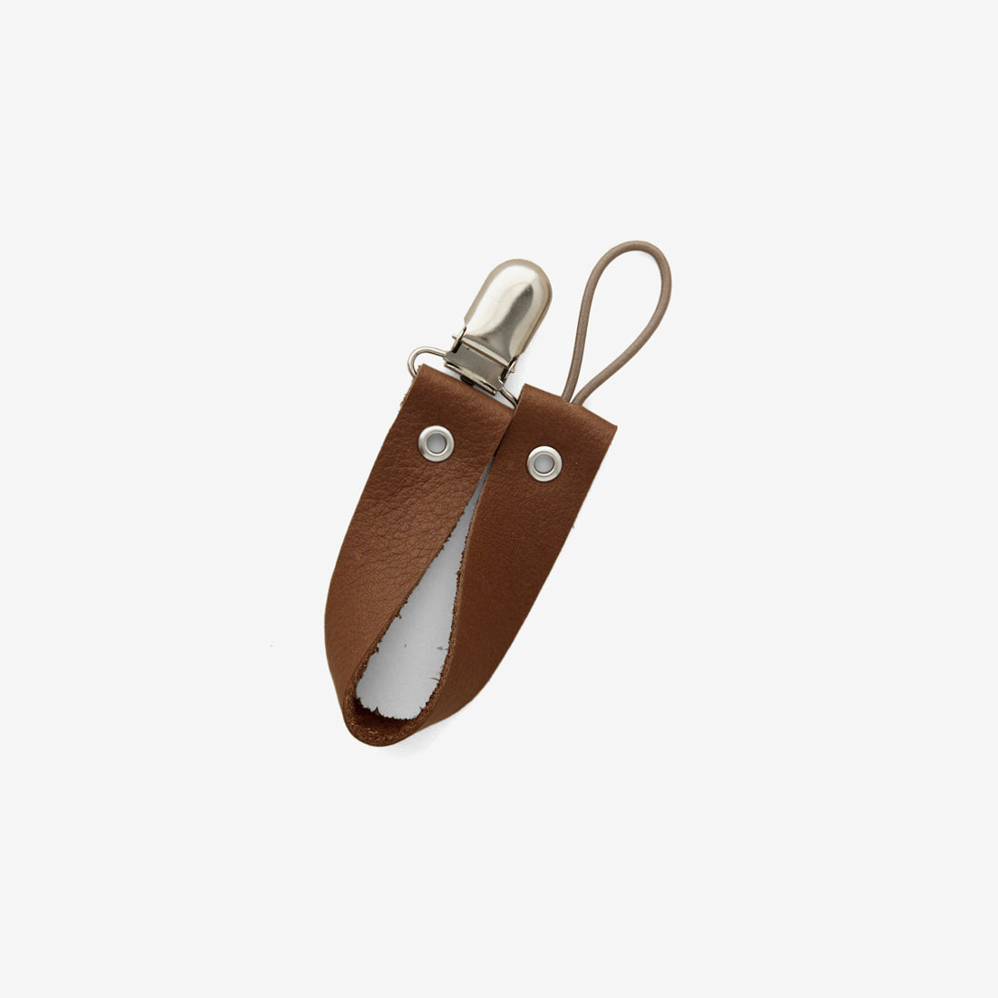 Leather Pacifier Holder - Caramel