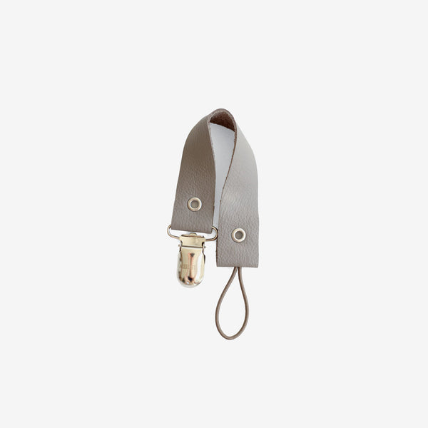 Leather Pacifier Holder - Grey