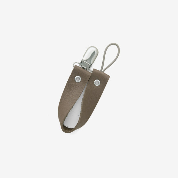 Leather Pacifier Holder - Taupe