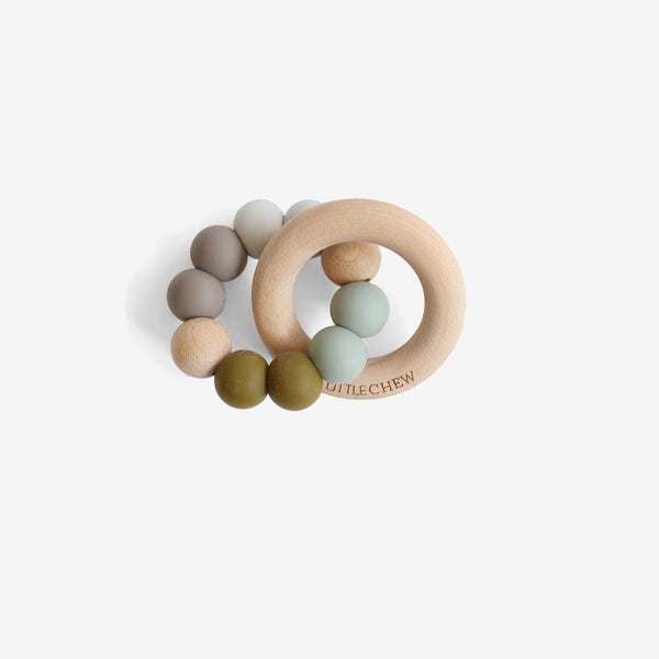 Silicone Bead + Wood Ring Teether - Camp