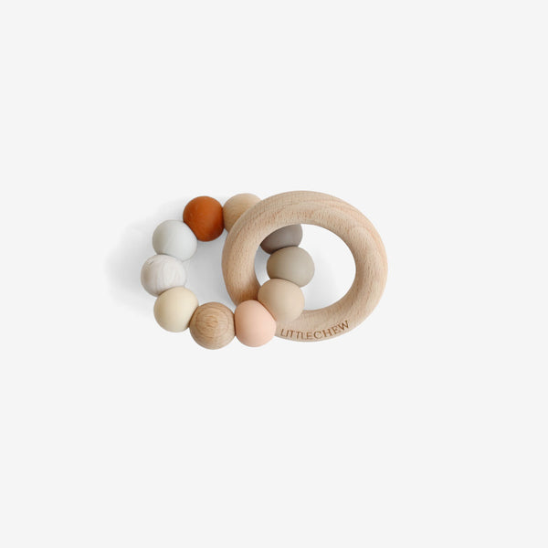 Silicone Bead + Wood Ring Teether - Caroline