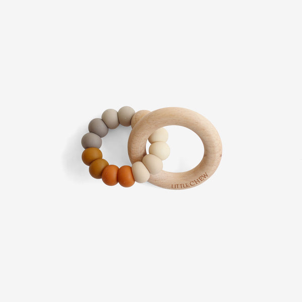 Silicone Bead + Wood Ring Teether - Spice