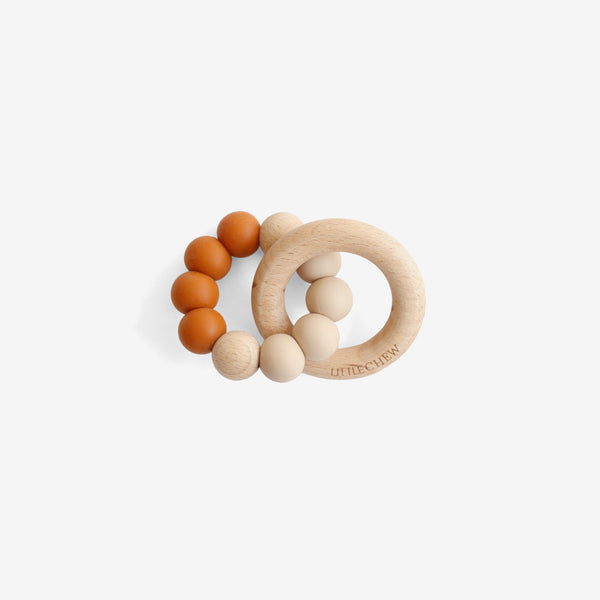 Silicone Bead + Wood Ring Teether - Twin
