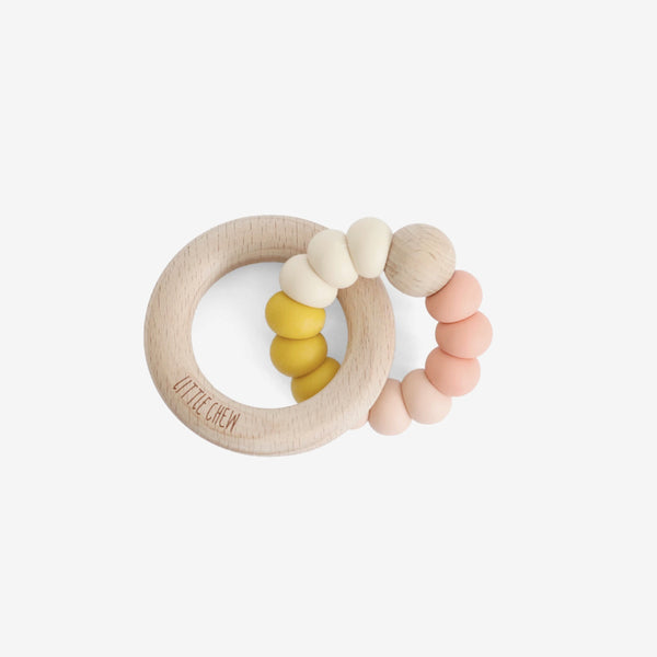 Silicone Bead + Wood Ring Teether - Desert