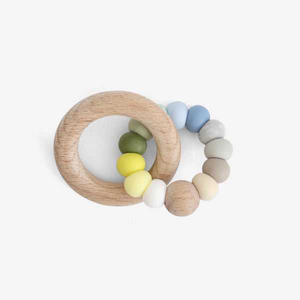 Silicone Bead + Wood Ring Teether - Ocean