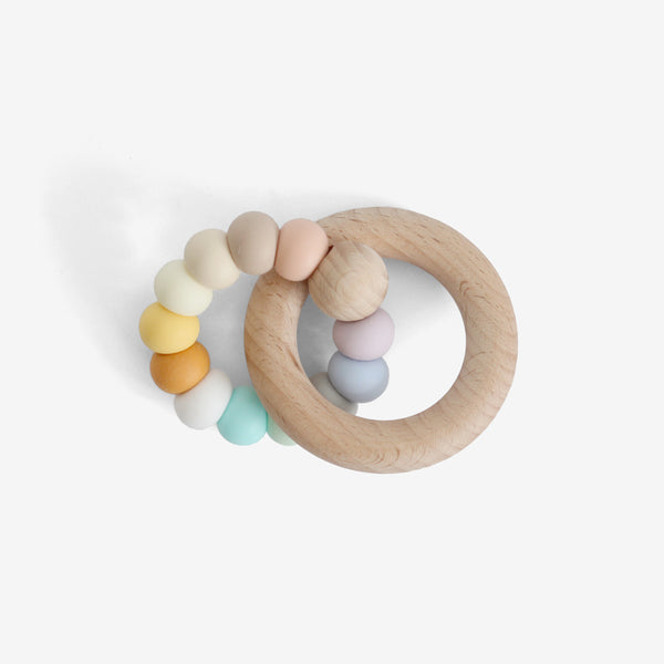 Silicone Bead + Wood Ring Teether - August