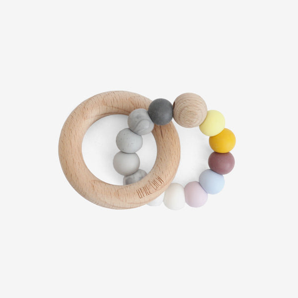Silicone Bead + Wood Ring Teether - Cosmos