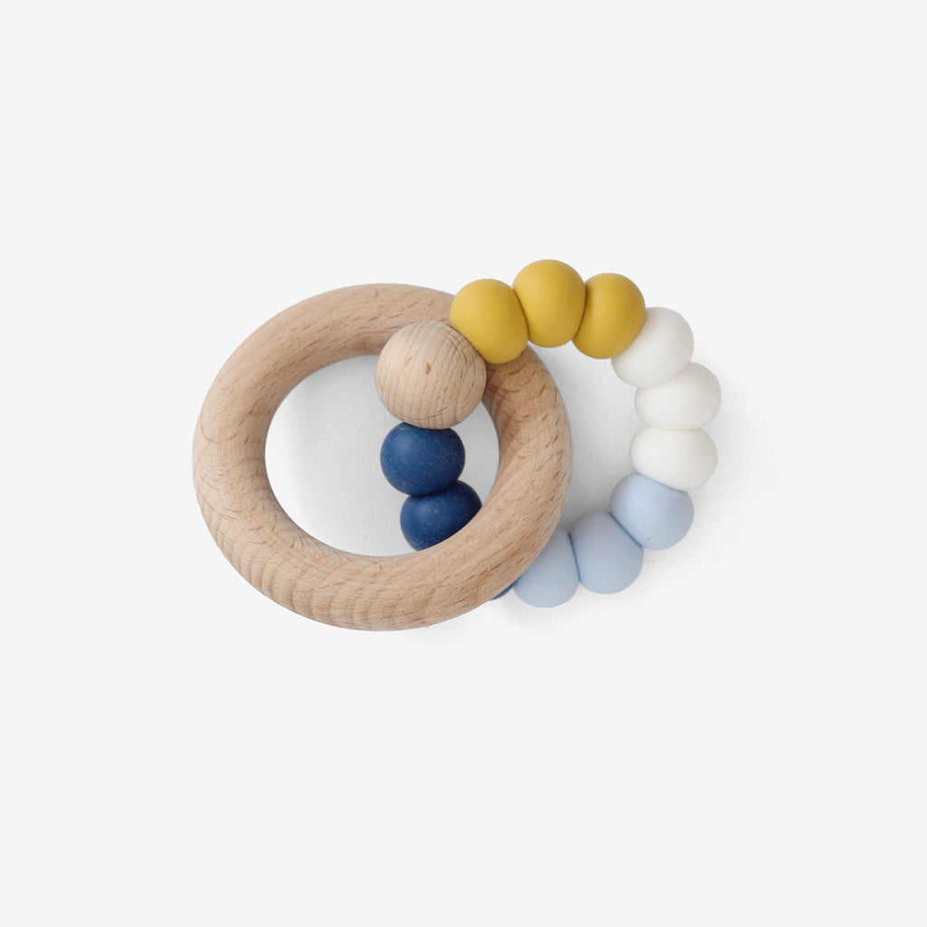 Silicone Bead + Wood Ring Teether - Mobiez