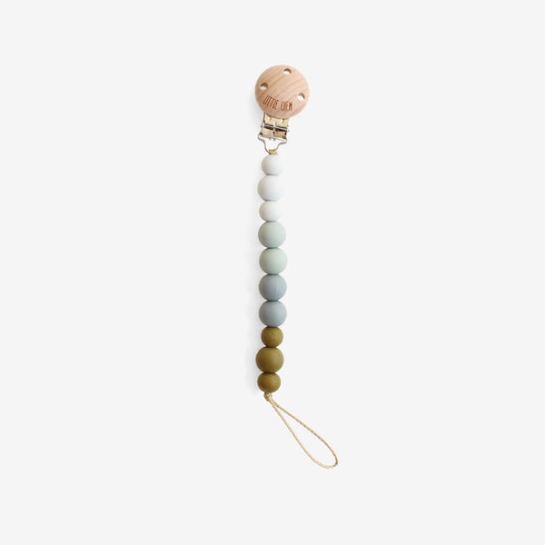 Silicone + Wood Bead Pacifier Clip - Camp
