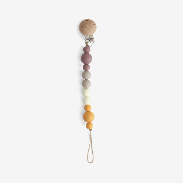 Silicone + Wood Bead Pacifier Clip - Harvest