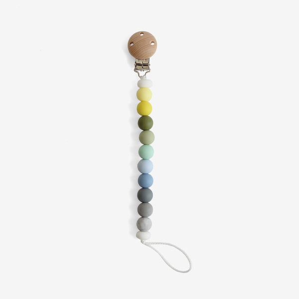 Silicone + Wood Bead Pacifier Clip - Ocean