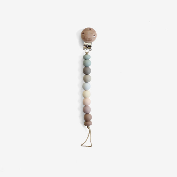Silicone + Wood Bead Pacifier Clip - Leila