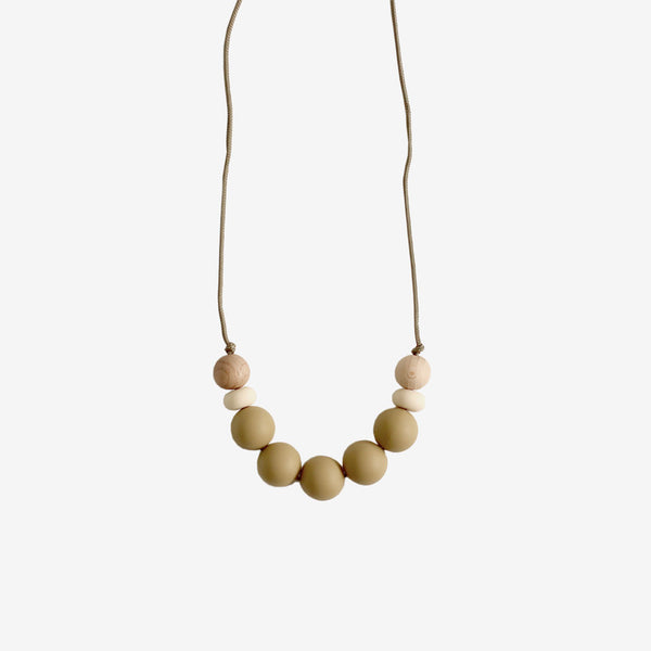 Mommy Silicone Bead Necklace - Khaki