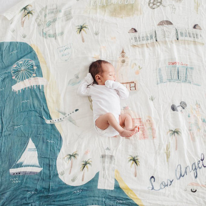 Bamboo/Cotton Muslin Swaddle - Los Angeles