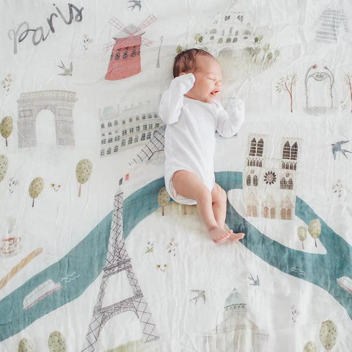 Bamboo/Cotton Muslin Swaddle - Paris