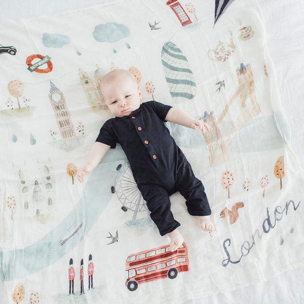 Bamboo/Cotton Muslin Swaddle - London