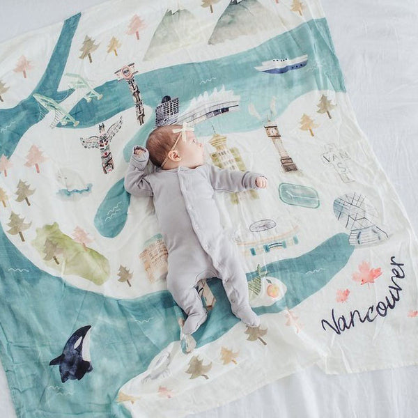 Bamboo/Cotton Muslin Swaddle - Vancouver
