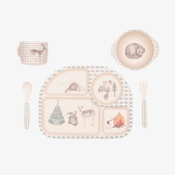 5pc Bamboo Dinnerware Set - Forest Feast