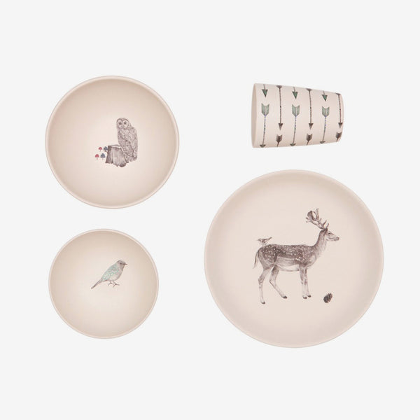 4pc Bamboo Dinnerware Set - Forest Supper