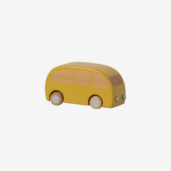 Pull-back Wooden Bus - Yellow