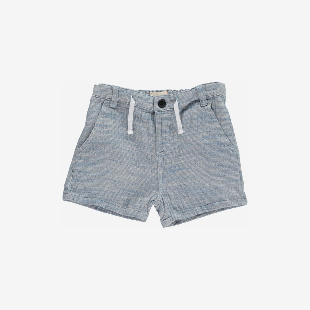 Blue Woven Pocket Shorts