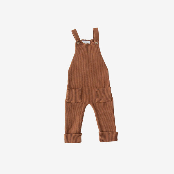 Cotton Rib Knit Overalls - Rust