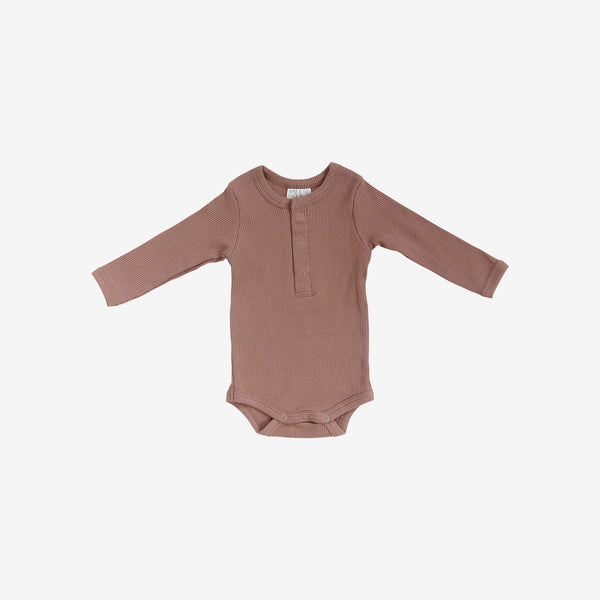 Organic Cotton Rib L/S Henley Onesie - Dusty Rose